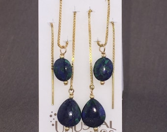 "Azurite Malachite earrings blue green theaders multiple hole multiple piercings 5"" threader sterling earrings vermeil gold theaders gemstone"