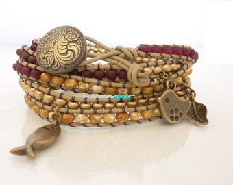 Wrap Bracelet leather and seed beads