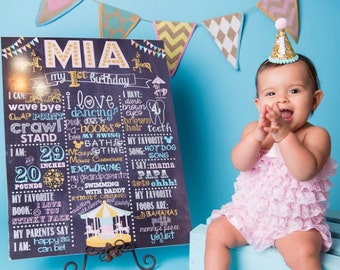 Carousel Birthday Chalkboard/Pink and Gold Birthday Chalkboard/Pink and Gold Carousel Birthday Chalkboard/Carnival Birthday Chalkboard Sign