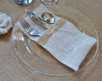 Burlap Silverware Holders – Color: White/Cream, with Brown Burlap Strip and White/Cream Burlap Bow