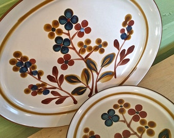 Noritake Stoneware, October Fest 8555 Japan Dish Set, 70's Retro Dish Set