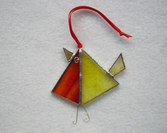 Stained Glass Robin Suncatcher Decoration in reds and yellows