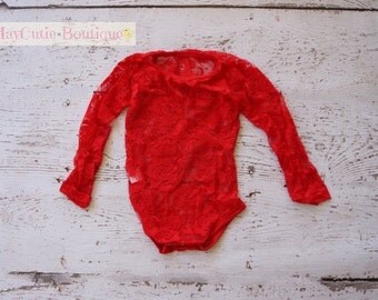 Red lace onesie-red long sleeve lace body suit-baby lace shirt-red lace bodysuit-girls lace shirt-lace onesie-lace bodysuit-red bodysuit
