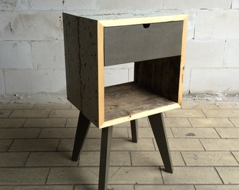 Handmade upcycle tray Cabinet/Cabinet with drawer made of old wood