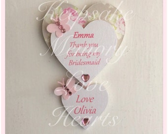 Bridesmaid gift personalised wooden heart magnet