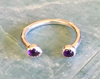 3/4 Amethyst Horse Shoe Ring - Sterling Silver Size 7