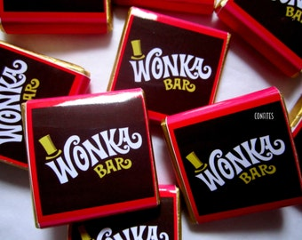 Personalised Chocolates Willy Wonka party favour birthday candy bar 25 pcs