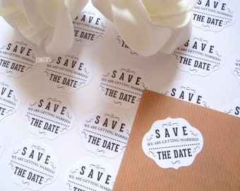 Wedding Save The Date Envelope Seal stickers for invitations 35 pcs - free shipping !