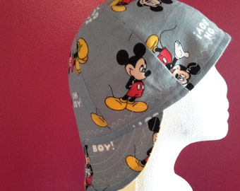 Mickey Mouse Reversible Welding Cap/ Lightweight grey flannel