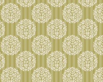Tilda Apple Bloom - Flower Ball Olive Cotton fabric by Tone Finnanger