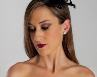 Black Fascinator Style Derby Headband - Style SMX4-0003