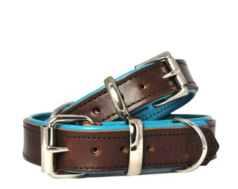Brown on Jade - Padded Leather Dog Collar - Handmade to Order