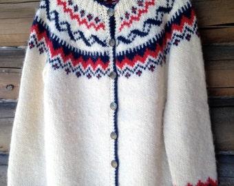 Vintage Handknit Stobi Wool Cardigan Sweater