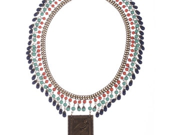 Egyptian Revival Brass and Venetian Glass Bead Necklace