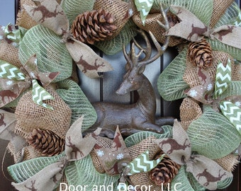 Deer Wreath~Winter Mesh Wreath~Front Door Wreaths~Everyday~Snow Wreath