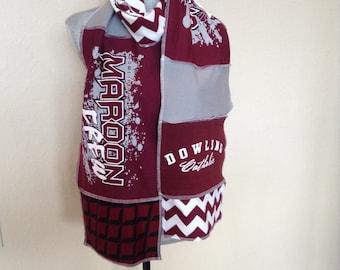 Upcycled tshirt Dowling Maroons Scarf, Dowling Scarf,Dowling Catholic High School, DCHS, Dowling Spirit Scarf,Dowl4