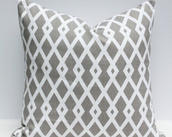 Graphic Fret Pillow Cover - Taupe & Cream White 18 x 18