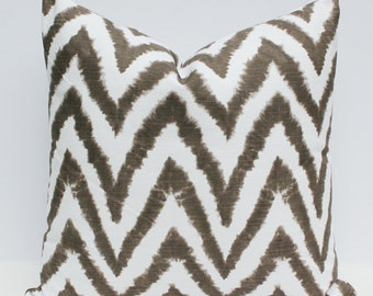 Chevron Watercolor Pillow Cover - Brown and White 18 x 18