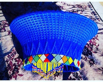 Zulu basket hat (isicholo). Traditional hat worn at special occasions such as weddings