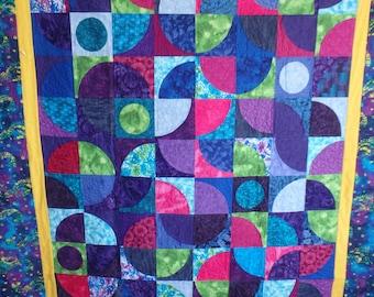 homemade quilt, queen size quilt, Asian quilt, purple quilt
