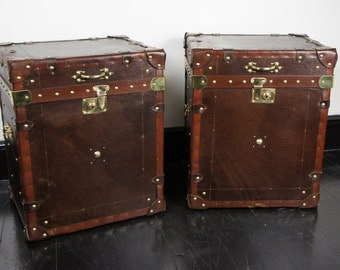 Handmade English leather pair of Campaign Trunks Chests