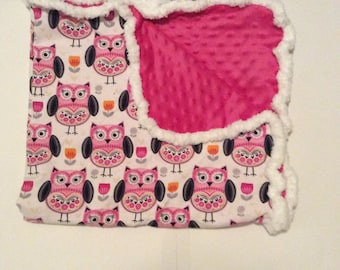 Owls and flowers blanket