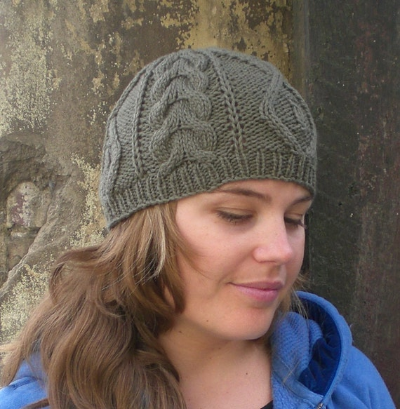 Knitting PATTERN, Cable knit beanie pattern for women and ...