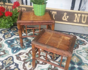 Sale Vintage furniture tables bamboo end table plant stand bamboo boho chic tables