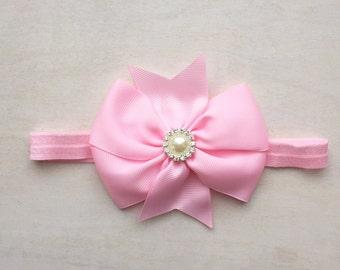 Baby pink headband, infant headband, baby shower gift, newborn headband, hair bow, girls headband, kids accessories, pink headband, hair bow