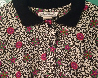90s 80s floral top LARGE