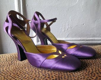 Mary Jane Trendy Block Heel Satin Purple Shoes Miu Miu Prada Size 39 Brand New