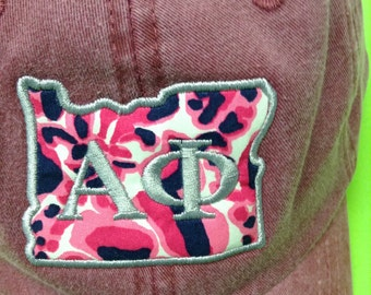 My State baseball cap Alpha Phi Oregon State Outline in Burgundy with Lilly Pulitzer fabric