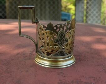 Silver tea glass holders Podstakannik 875 silver, Vintage Soviet tea glass holders, Silver Tea Glass Cup Holder