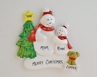 Single Parent with 1 Child and Pet Added Personalized Ornament - Single Parent with 1 Child and Dog - Single Parent with 1 Child and Cat