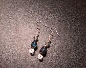 "2"" Clear blue earrings"