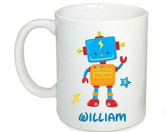 Personalised kids mugs, custom robot mug, party favour, 6oz mugs, 11oz kids mugs