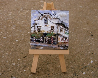 Original Miniature Painting with Easel