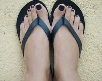 Women Flip flops, Sandals, Black leather flip flops, Greek sandals, Handmade sandals, Summer shoes