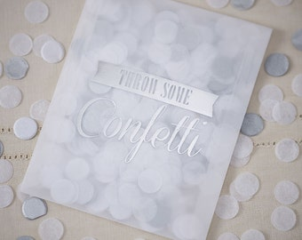 Silver and White Tissue Paper Confetti, Silver Confetti, Confetti, Table Confetti, Wedding Decorations, Party Decorations, Table Decorations