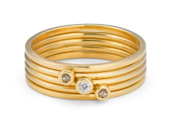 Stack of Five 9ct Yellow Gold & Champagne and White Diamond, Ethical Skinny Rings