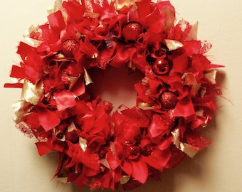 Red and Gold Christmas Rag Wreath