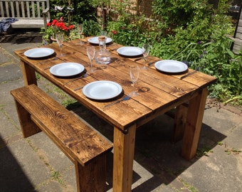 Dining table 2 benches reclaimed wood pine will seat 6 people