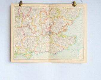 Vintage antique atlas map.London area map original.Wall decor South East England map.Cornwall map.Bartholomew Atlas.Travel ephemera