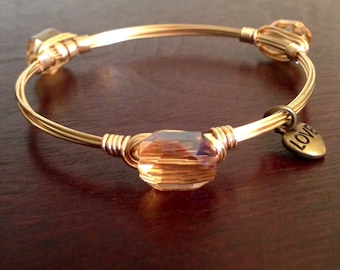 Gold Crystal Bangle Bracelet
