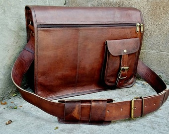 "Personalized Men's Leather Messenger Bag. Leather Briefcase. 15"" Leather Bag. Man Bag. Leather Messenger Bag. Mens Bags. Bags for Men."