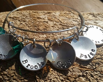 Charm bracelet.  Name bracelet.  Bangle style.  Mother's bracelet.