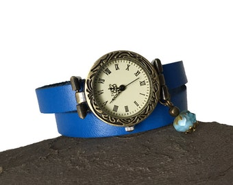Oceane watch lagoon blue leather