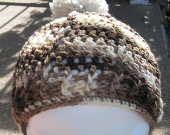 Browned Toned Crochet Childs Hat with a Pom Pom