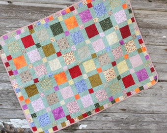 Scrappy Throw Quilt   Scrappy Quilt   Small Quilt  Quilted Throw