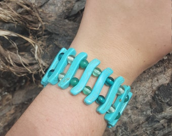 Large Turquoise and Teal Glass Beads Stretchy Bracelet
